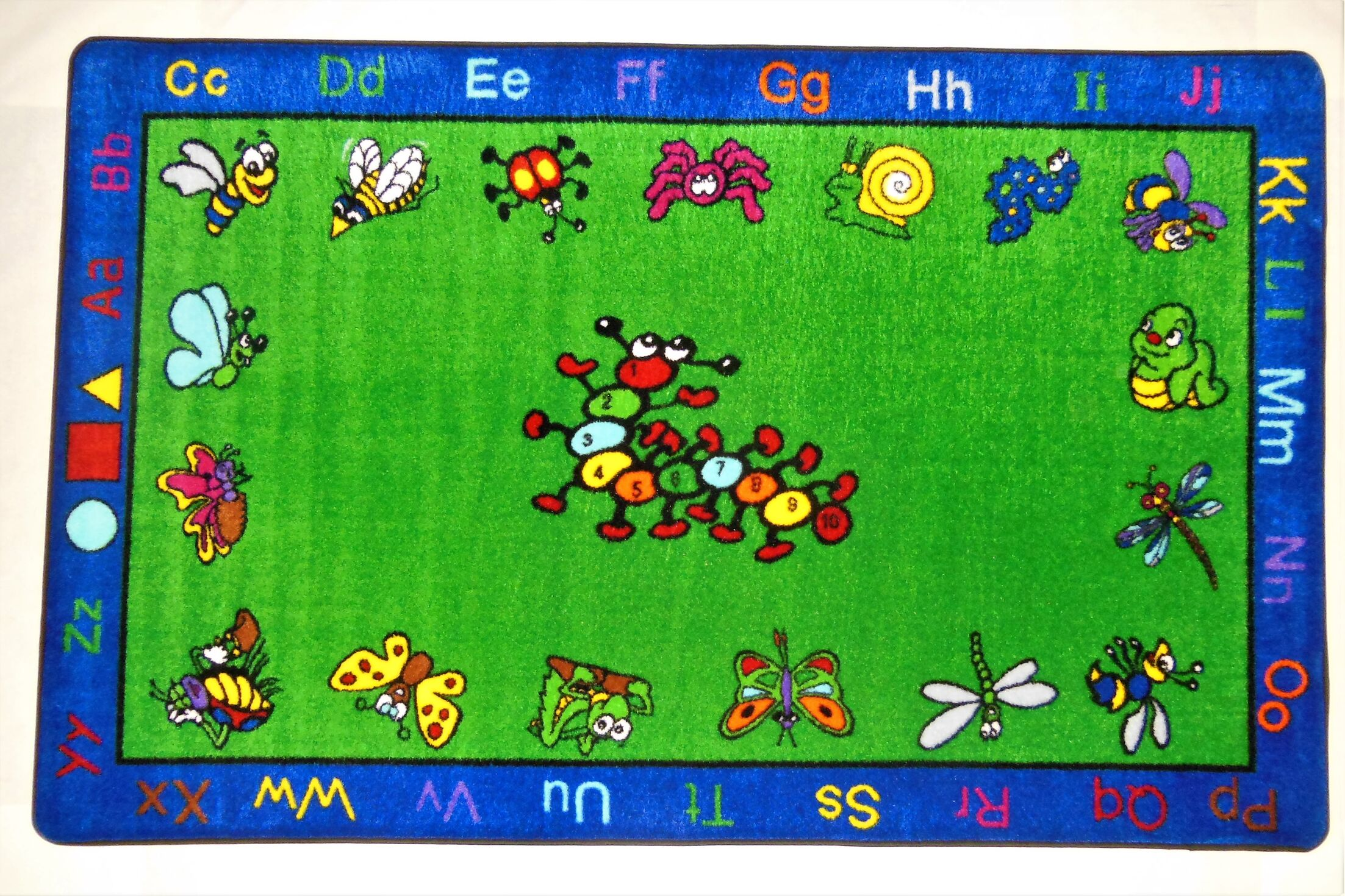 Fun Learning Critters Green/Blue Area Rug Rug Size: Oval 5' x 8'