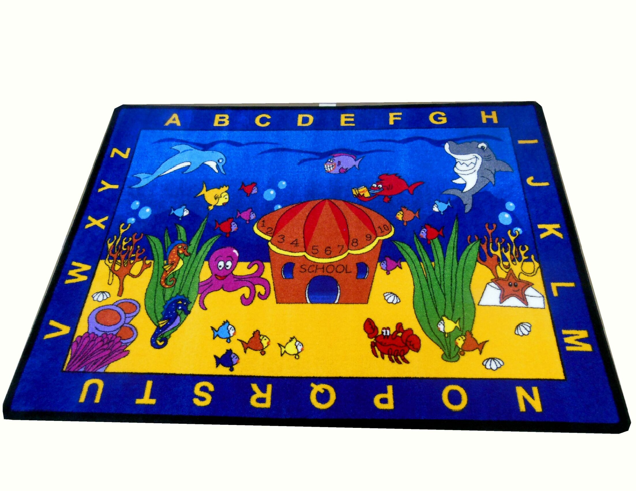 See the Sea Blue/Yellow Area Rug Rug Size: Rectangle 4'4