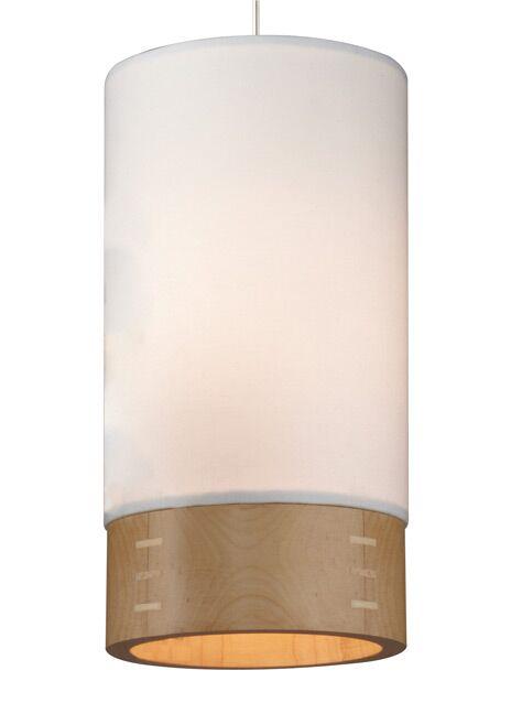 Topo 1-Light Cylinder Pendant Finish: Chrome, Shade Color: White/Walnut Wood, Mounting Type: Monopoint