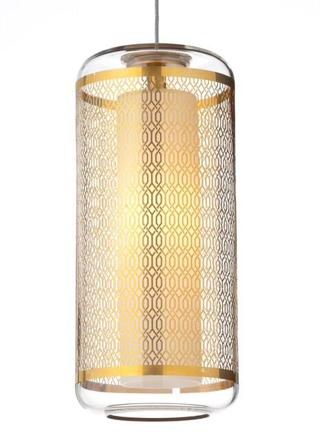 Ecran Monopoint 1-Light Cylinder Pendant Finish: Chrome, Shade Color: Clear/Polished Gold, Bulb Type: 1 x 8W LED