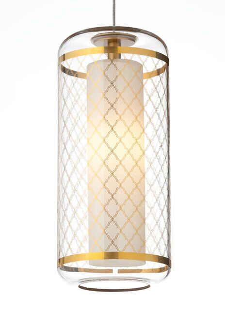 Ecran Monopoint 1-Light Cylinder Pendant Shade Color: Clear/Polished Platinum, Finish: Satin Nickel, Bulb Type: 1 x 8W LED