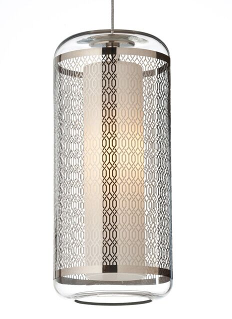 Ecran Monopoint 1-Light Cylinder Pendant Shade Color: Clear/Polished Platinum, Bulb Type: Halogen, Finish: Satin Nickel