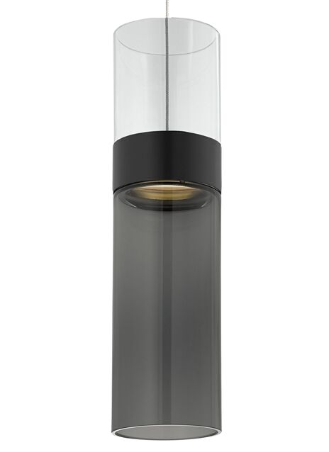 Manette 1-Light Cylinder Pendant Bottom Shade Color: White, Finish: Antique Bronze/Antique Bronze, Top Shade Color: Smoke