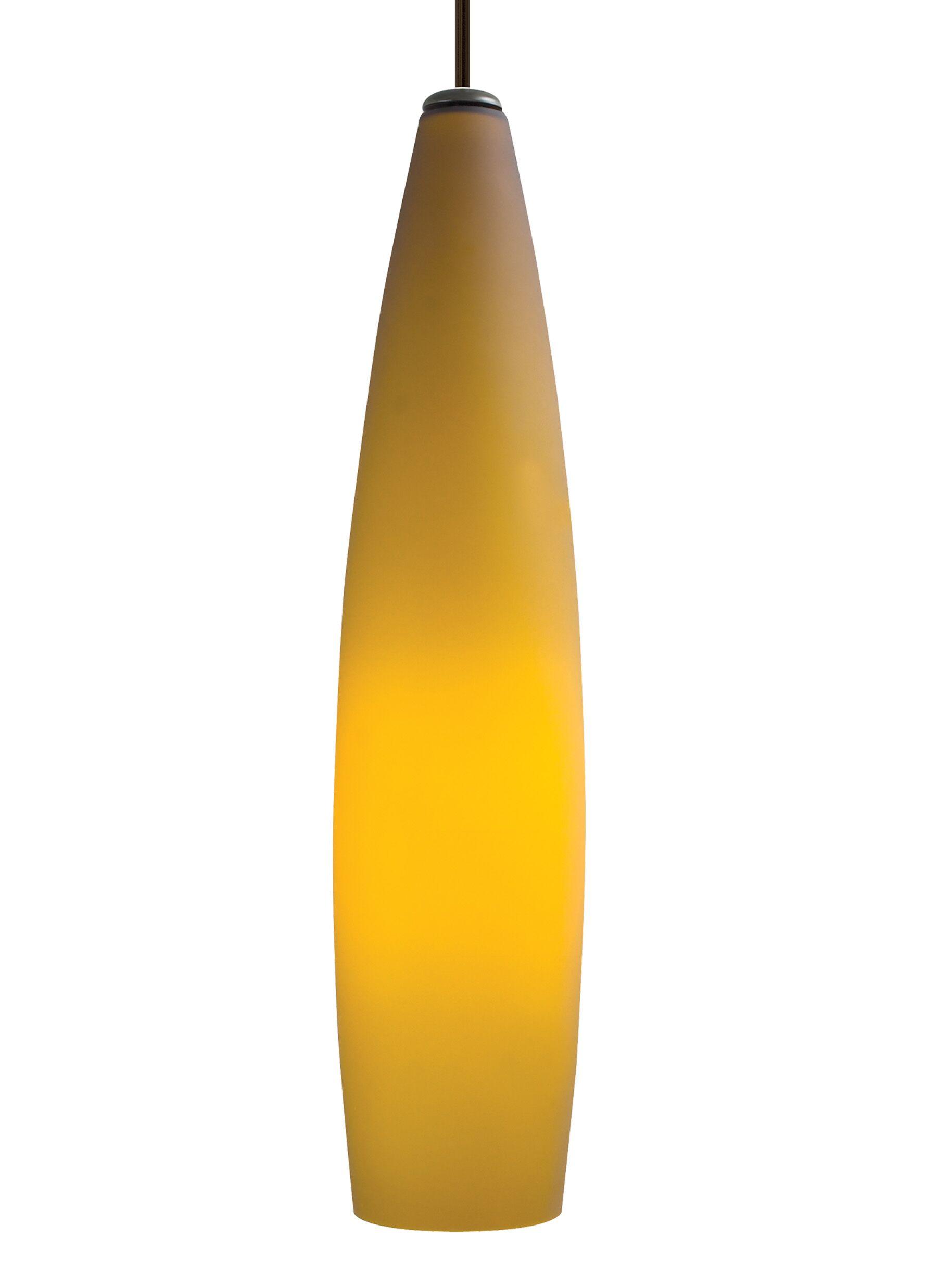 Fino 1-Light Cone Pendant Shade Color: Amber, Finish: Satin Nickel
