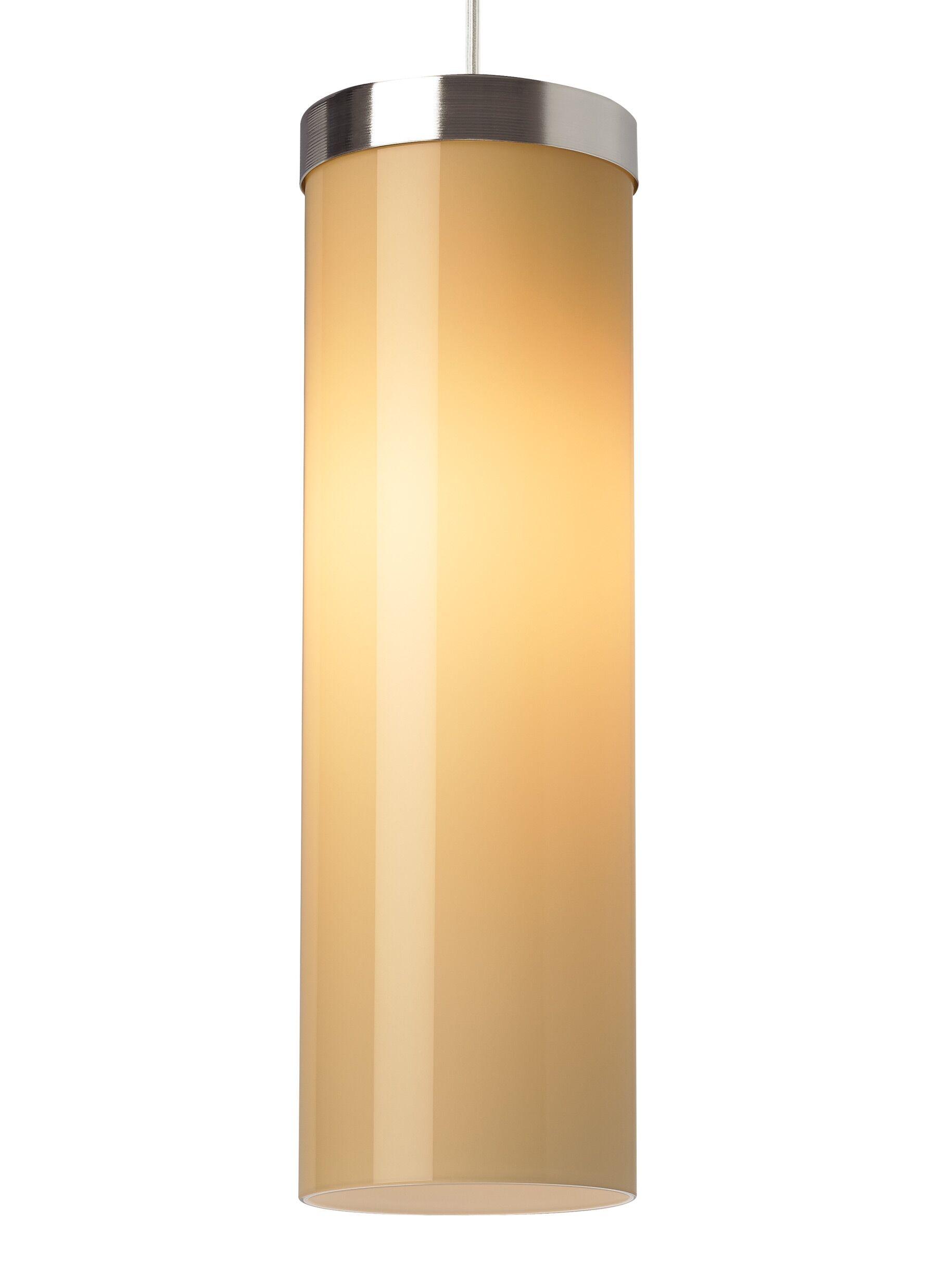 Hudson 1-Light Cylinder Pendant Shade Color: Latte, Finish: White