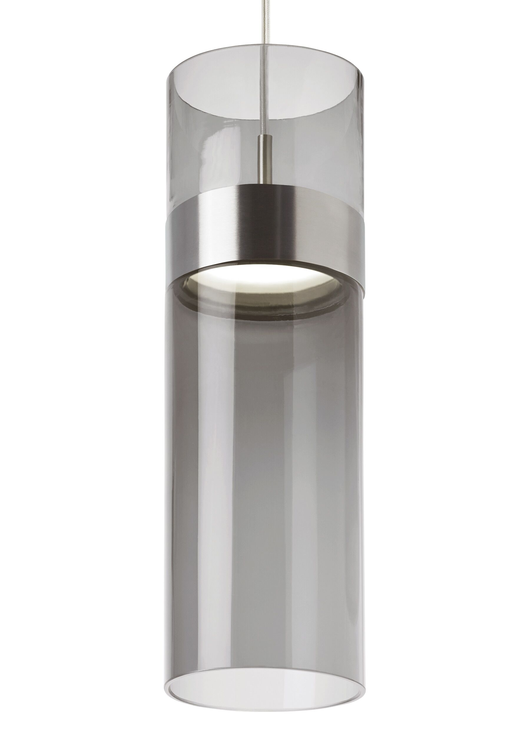 Manette Grande 1-Light Cylinder Pendant Shade Color: Transparent Smoke, Base Finish: Satin Nickel