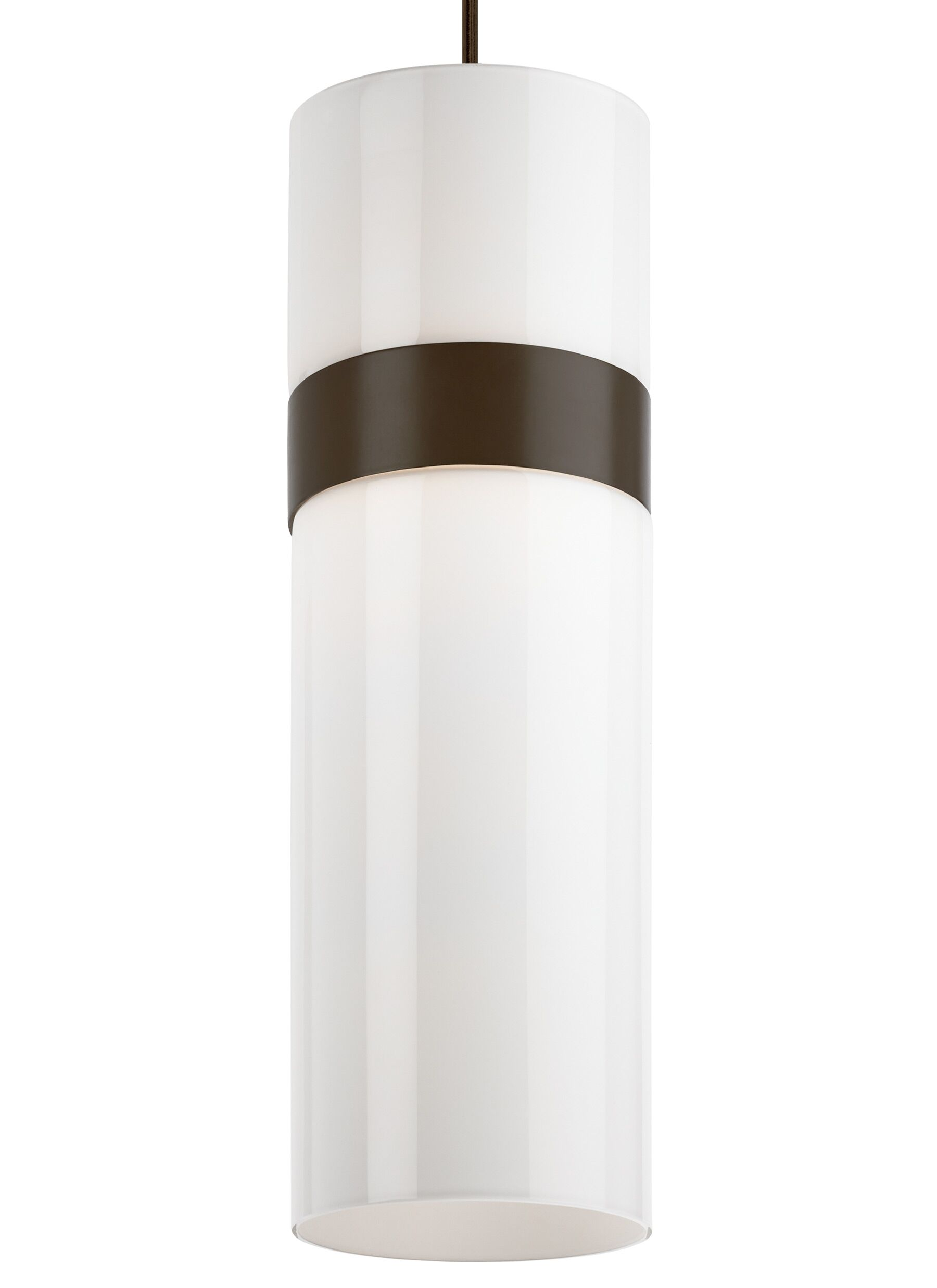 Manette Grande 1-Light Cylinder Pendant Base Finish: Antique Bronze, Shade Color: White