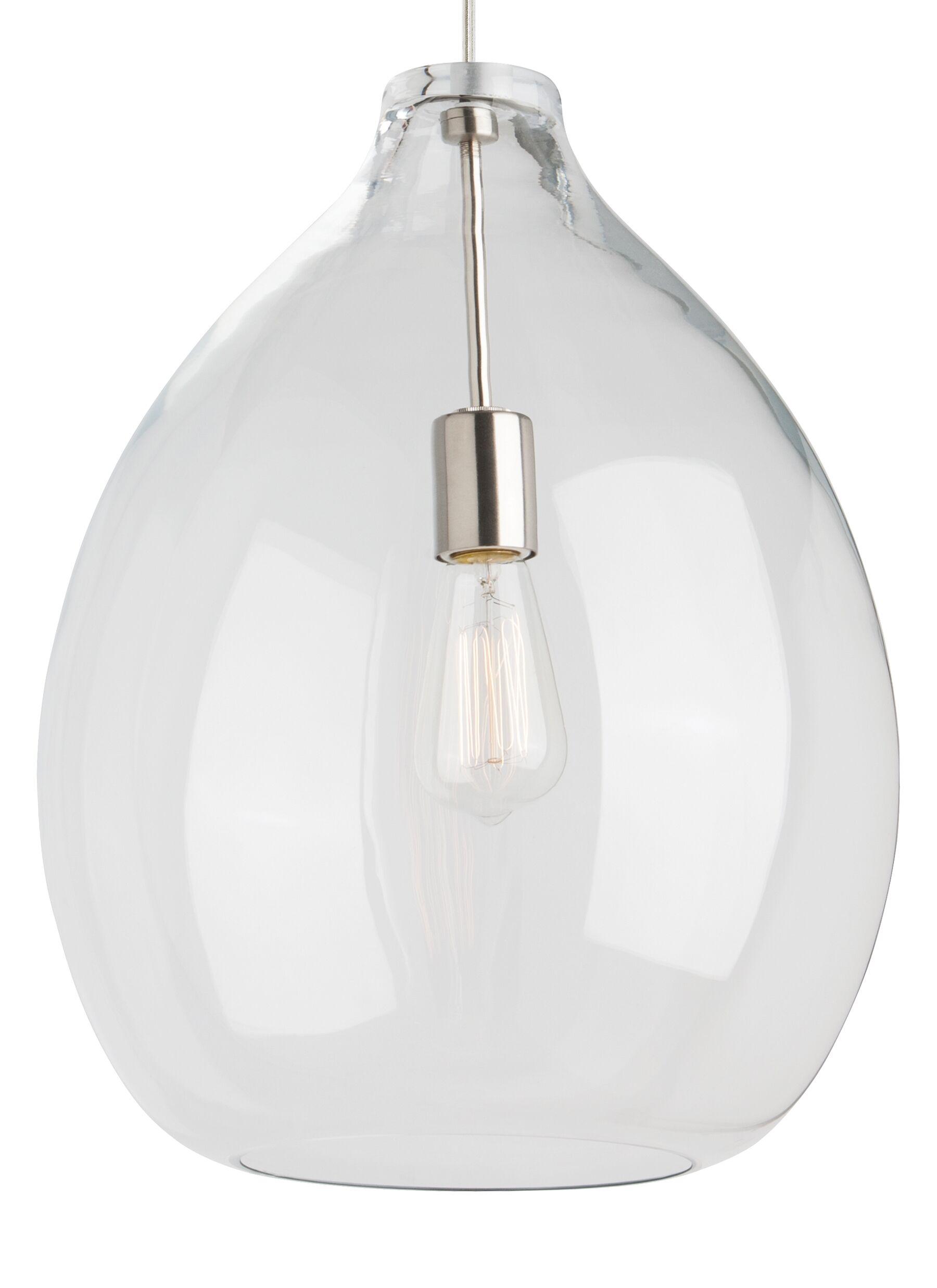 Quinton 1-Light Pendant Finish: Black, Bulb Type: Incandescent, Shade Color: Smoke