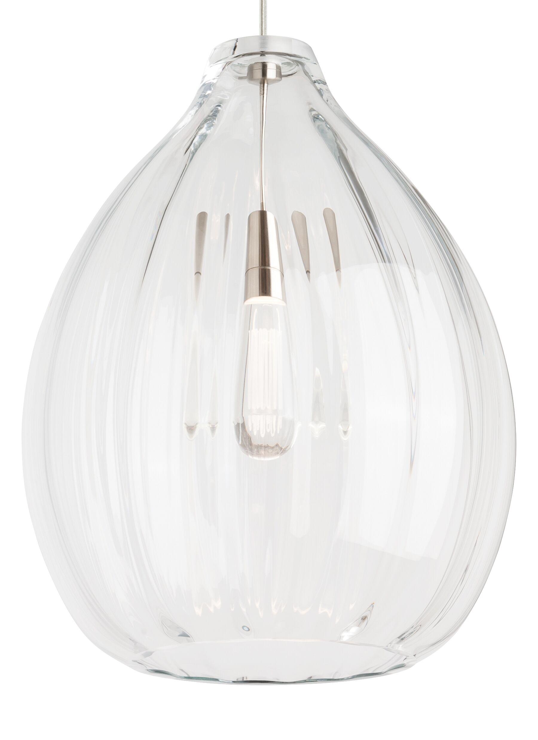 1-Light Pendant Finish: Black, Bulb Type: 120V Incandescent, Shade Color: Smoke