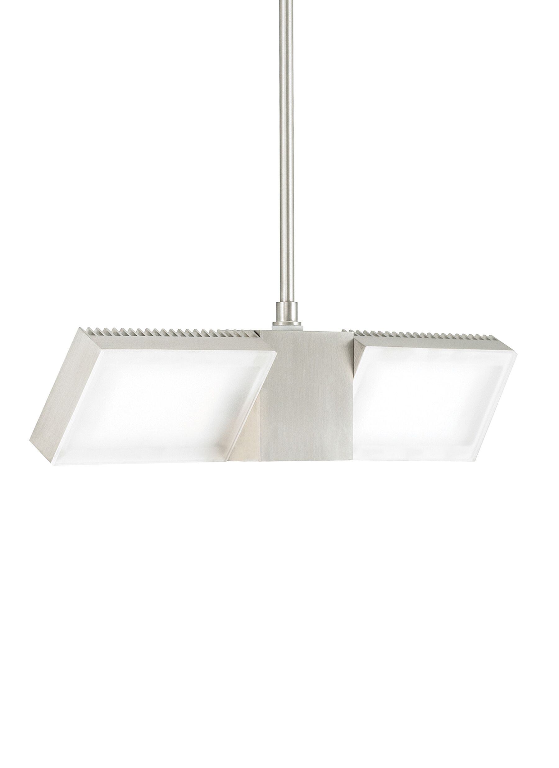 IBISS 2-Light Geometric Pendant Finish: Satin Nickel, Bulb Color Temperature: 2700K, Size: 12
