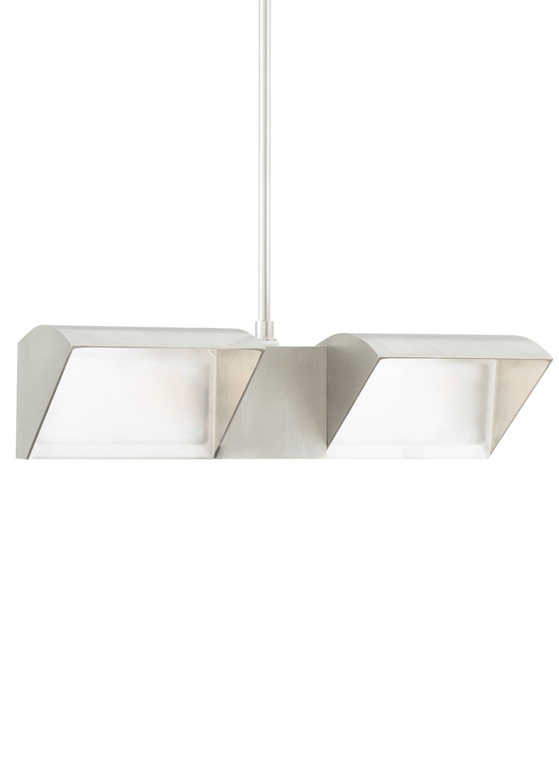 IBISS 2-Light Geometric Pendant Finish: Satin Nickel, Bulb Color Temperature: 2700K, Size: 18