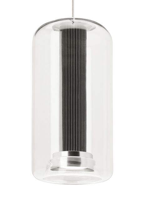 Amira 1-Light Cylinder Pendant Finish: White, Shade Color: Clear/Satin Nickel