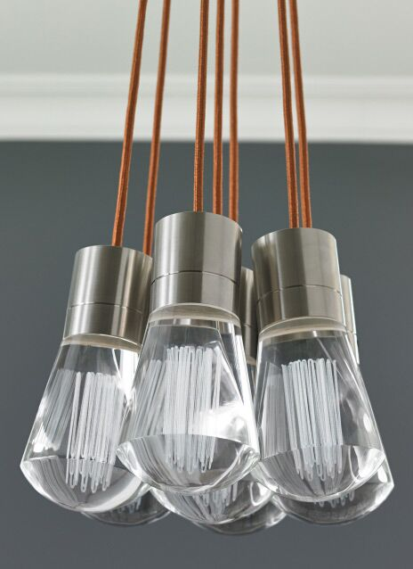 Hickory 7-Light Cluster Pendant Finish: Satin Nickel, Shade Color: Orange