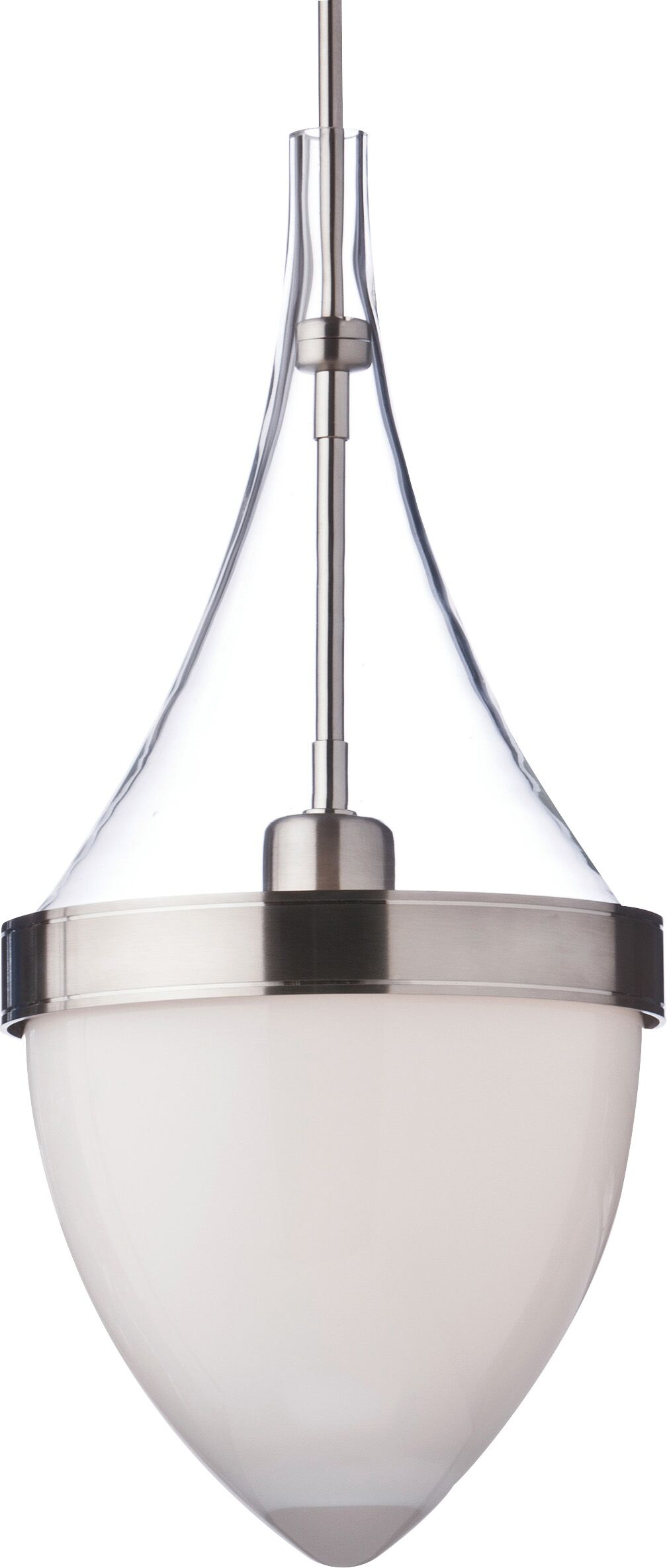 Parfum Grande 1-Light Teardrop Pendant Bulb Type: Compact Fluorescent, Shade Color: Clear / White, Finish: Black