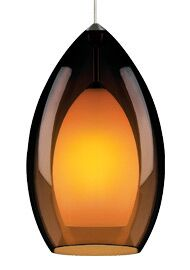 Fire Grande 1-Light Cone Pendant Finish: Satin Nickel, Shade: Havana Brown, Bulb Type: Incandescent