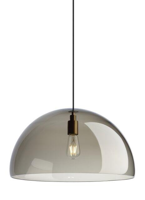 Darby 1-Light Dome Pendant Finish: Aged Brass, Bulb Type: No Bulb, Shade Color: Transparent Smoke