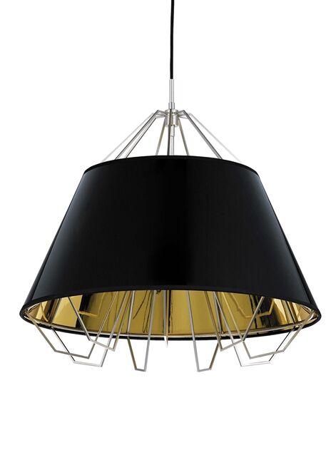 Davila 1-Light Dome Pendant Cord Color: Black, Shade Color: Gloss Black/Silver, Finish: Satin Nickel