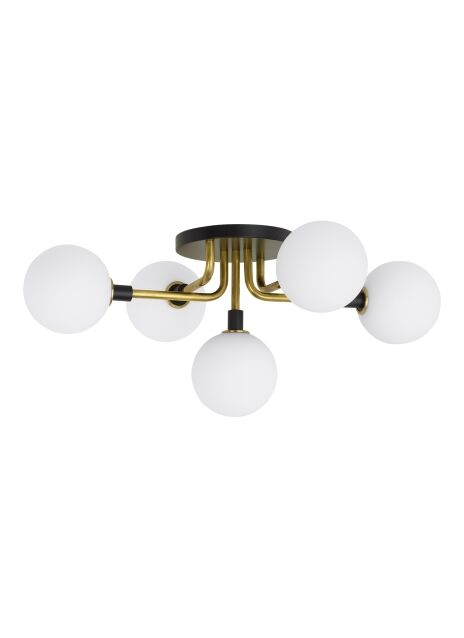 Viaggio 5-Light Semi Flush Mount Bulb Type: No Bulb, Fixture Finish: Opal/Brass