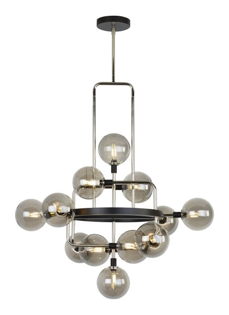 Eliseo 12-Light Novelty Chandelier Bulb Included: Included, Shade Color: Smoke/Polished Nickel