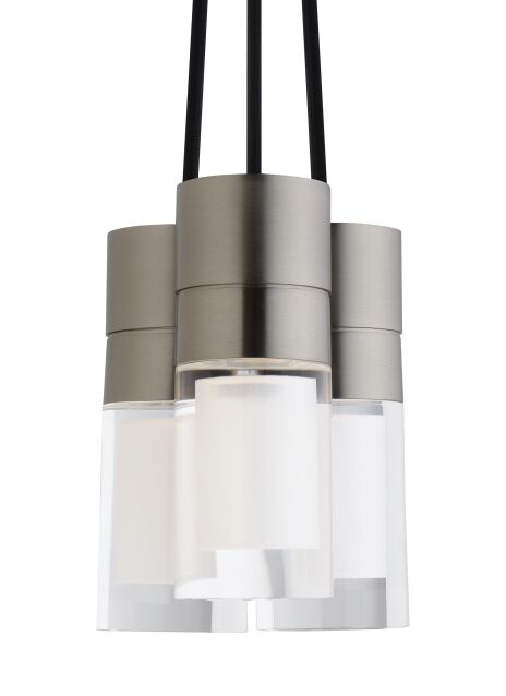 Crum 3-Light Cylinder Pendant Shade Color: Black, Bulb Type: Integrated LED 90 CRI 2200K 120V (T24), Finish: Satin Nickel