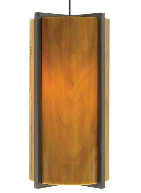 Essex 1-Light Cylinder Pendant Shade Color: Beach Amber, Base Finish: Satin Nickel, Bulb Type: 90 CRI 3000K LED