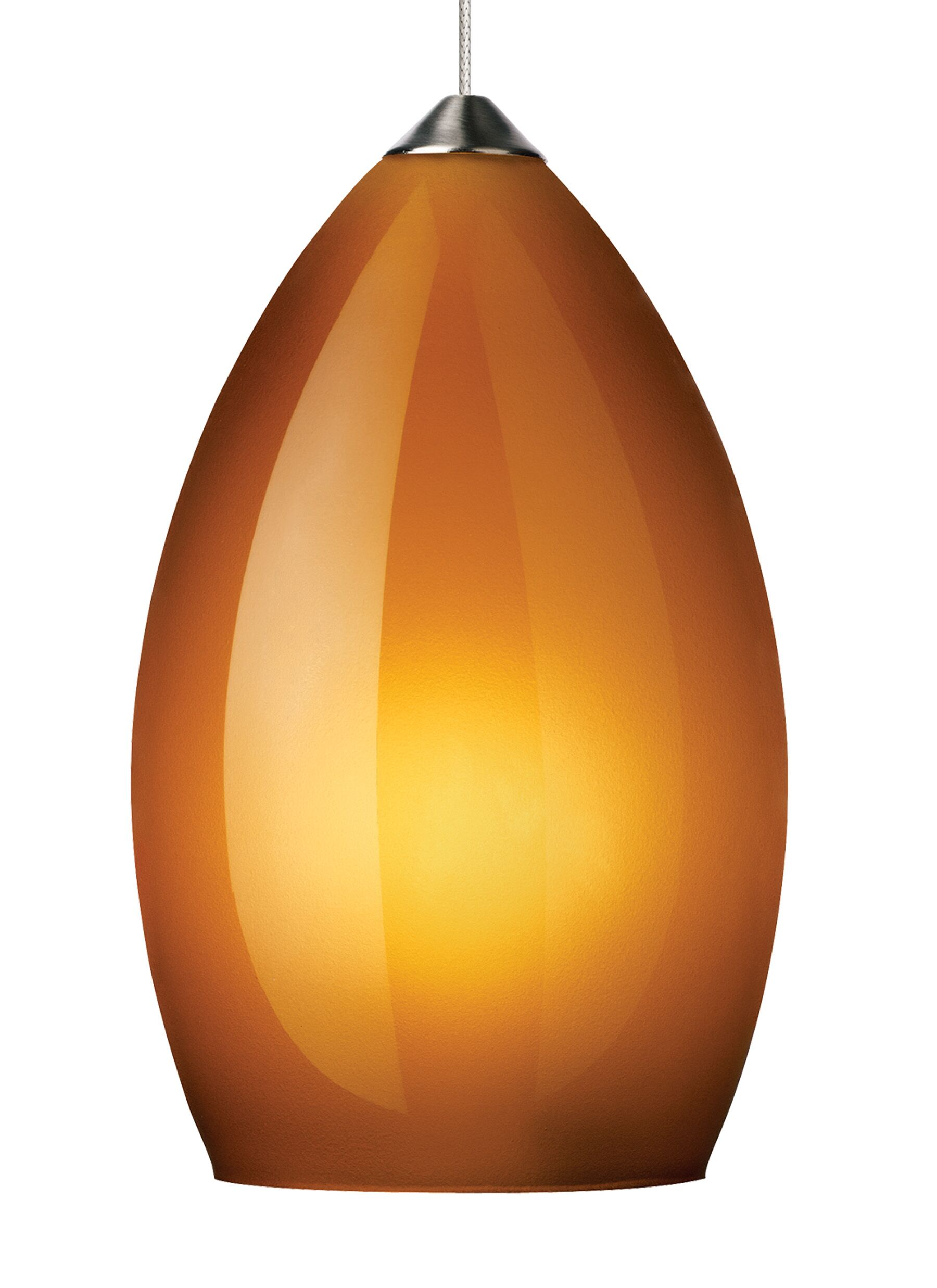 Firefrost 1-Light Cone Pendant Shade Color: Amber, Base Finish: Satin Nickel