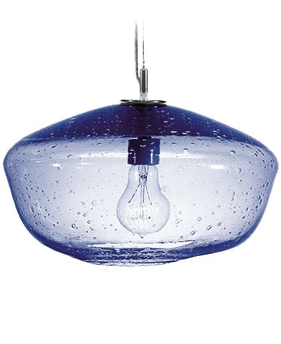 Fizz Galaxy 1-Light Schoolhouse Pendant Finish: Nickel with Silver Nylon Wire, Shade Color: Steel Blue