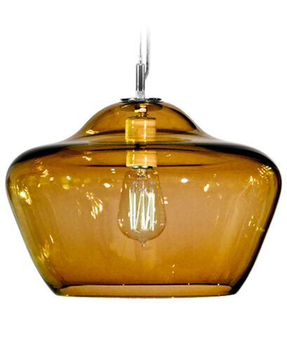 Vesuvius Aura 1-Light Schoolhouse Pendant Shade Color: Amber, Finish: Nickel with Silver Nylon Wire