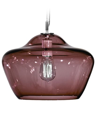 Vesuvius Aura 1-Light Schoolhouse Pendant Shade Color: Amethyst, Finish: Nickel with Silver Nylon Wire