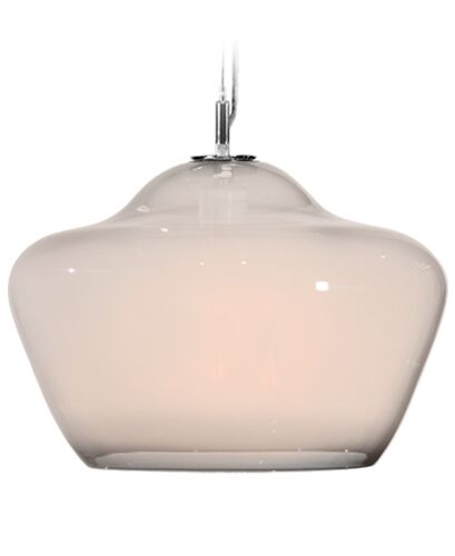 Vesuvius Aura 1-Light Schoolhouse Pendant Shade Color: Opal, Finish: Nickel with Silver Nylon Wire