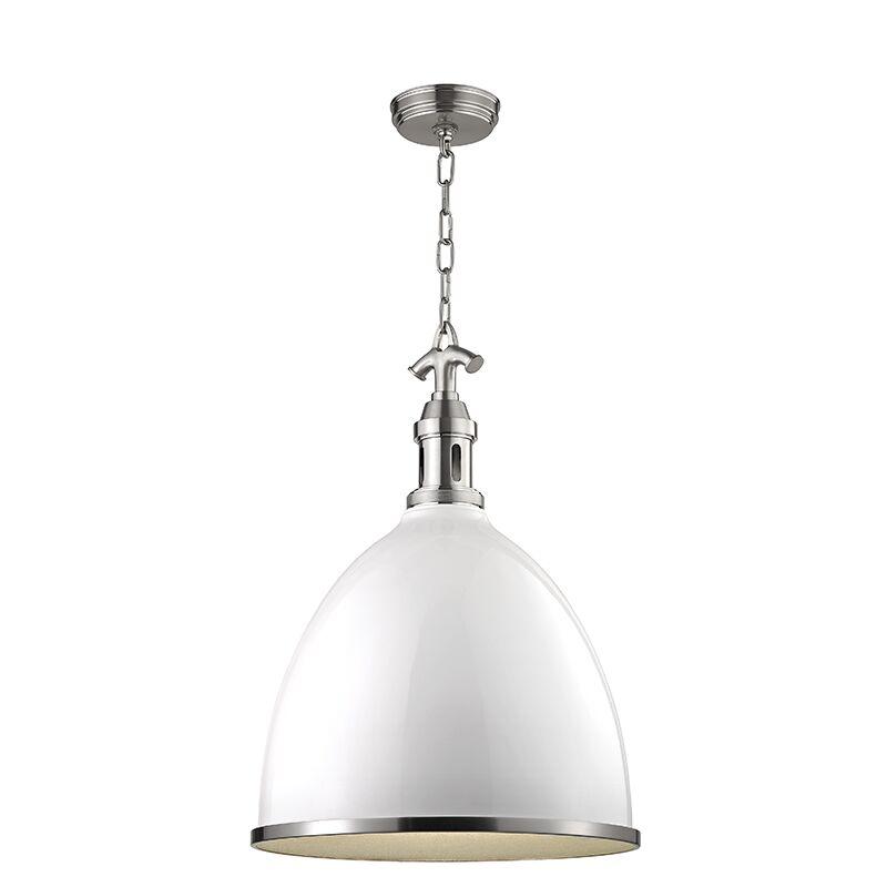 Ariela 1-Light Pendant Finish: White with Satin Nickel, Size: 23