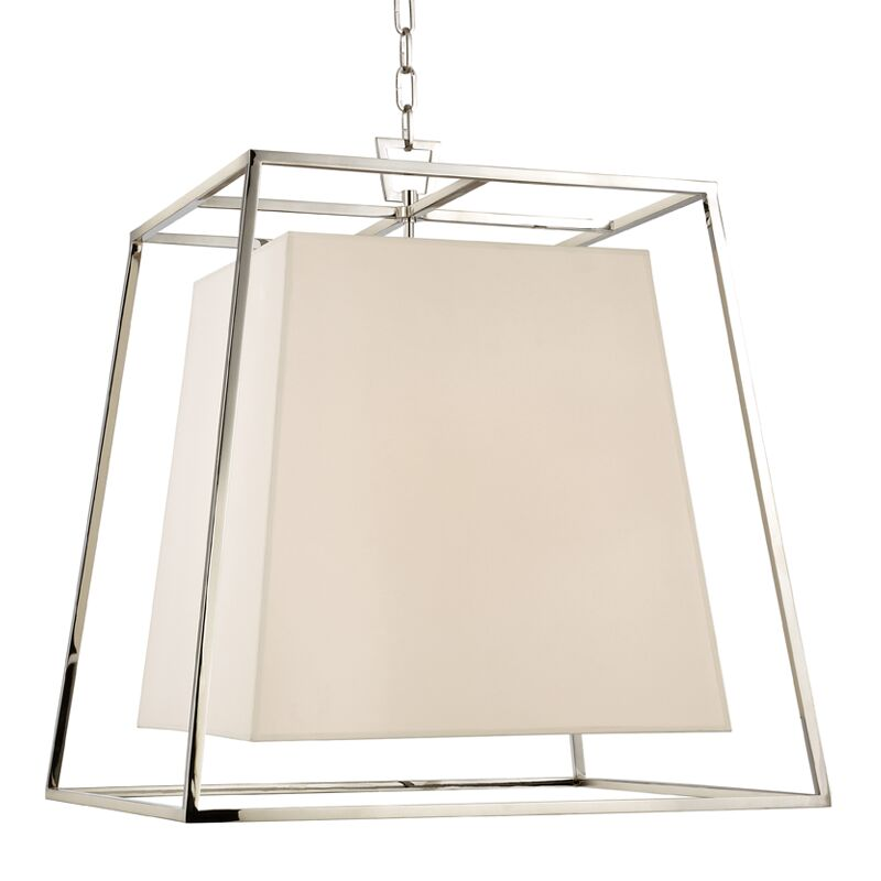 Casner 4-Light Square/Rectangle Pendant Shade Color: White, Finish: Polished Nickel