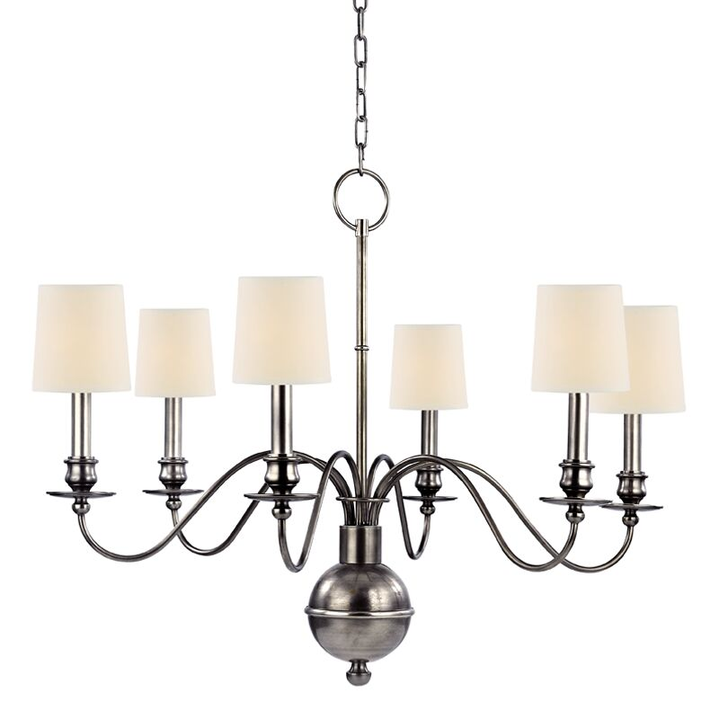 Erby 6-Light Shaded Chandelier Shade Color: Cream, Finish: Aged Silver