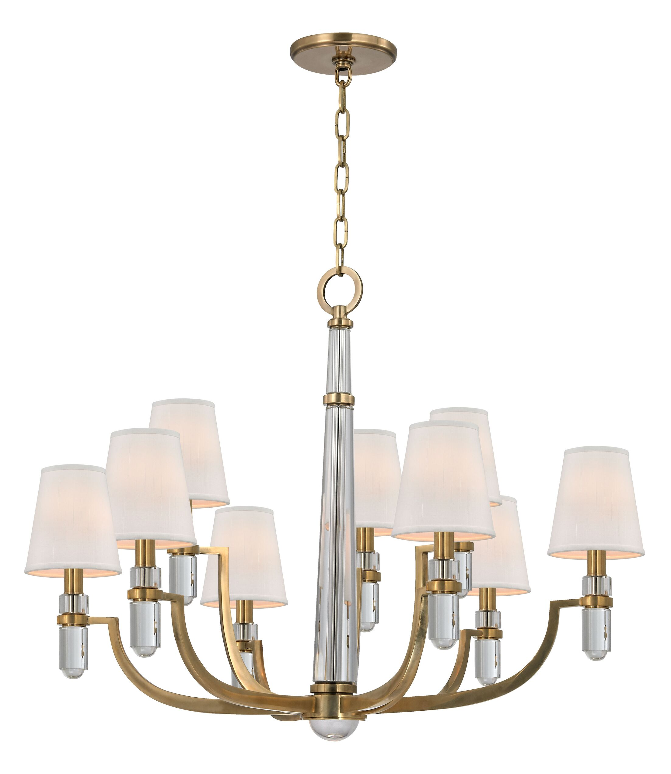 Abels 9-Light Shaded Chandelier Shade Color: White, Finish: Polished Nickel