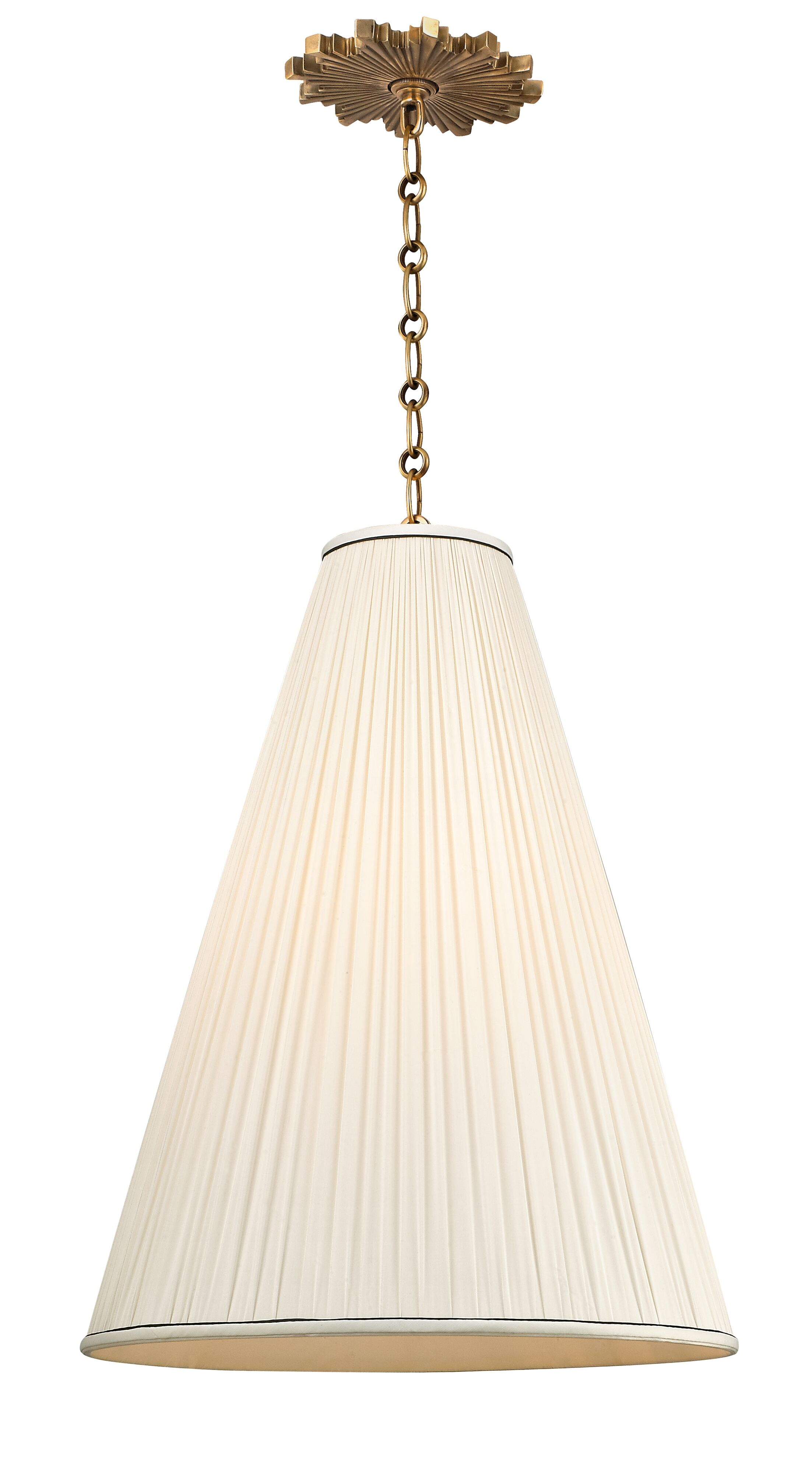 Austyn 1-Light Cone Pendant Finish: Aged Brass, Shade Color: Natural