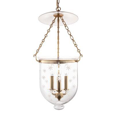 Hampton 3-Light Urn Pendant Finish: Aged Brass, Glass Pattern: Star Cut