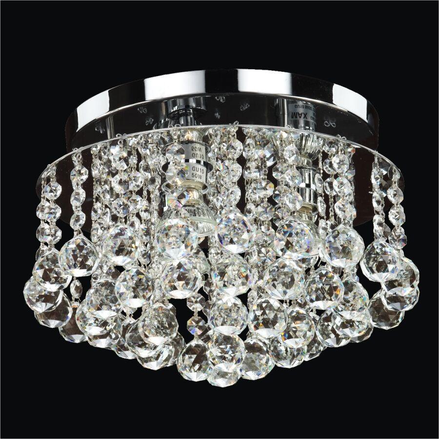 Prestige 3-Light Close Up Flush Mount Crystal: Danube Clear Crystal