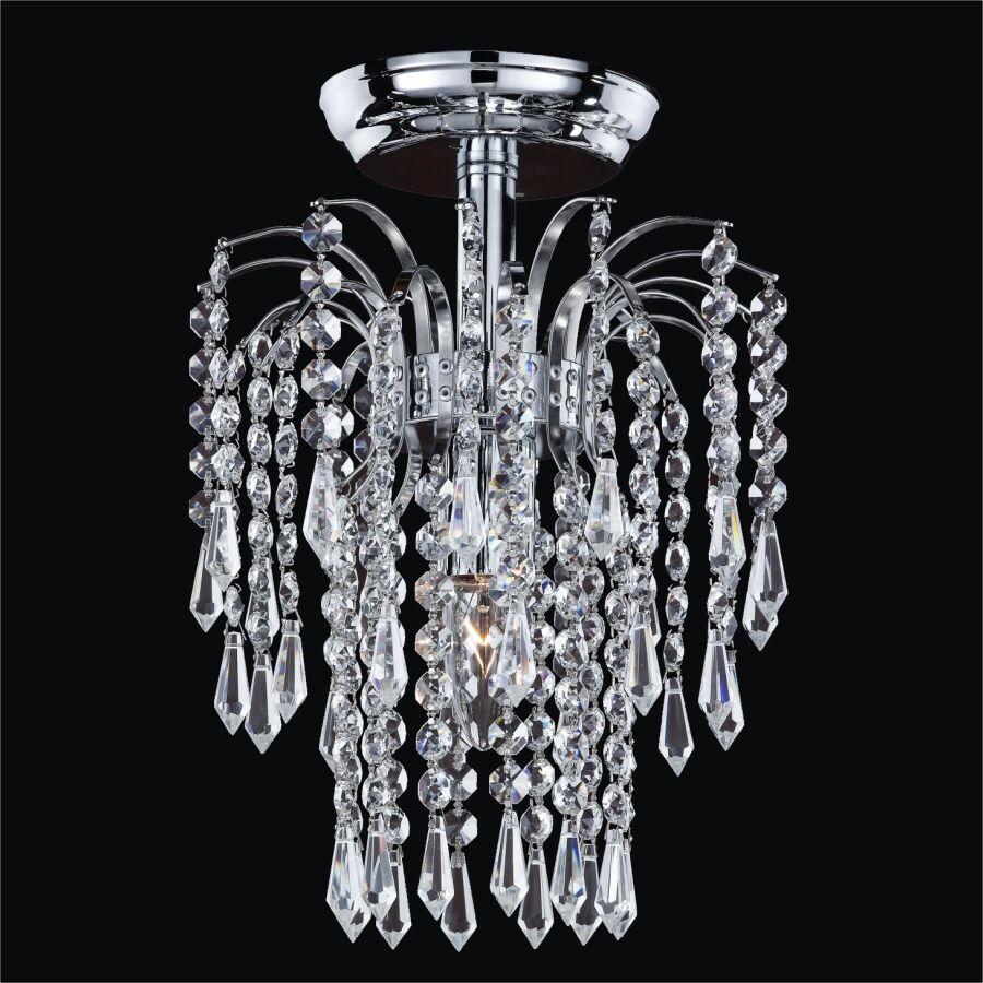 Cascade 1-Light Semi Flush Mount Crystal: Swarovski Elements Clear Crystal, Metal Finish: Silver Pearl