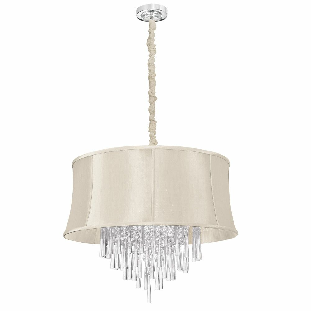 Silk Glow Crystal 8-Light Drum Chandelier
