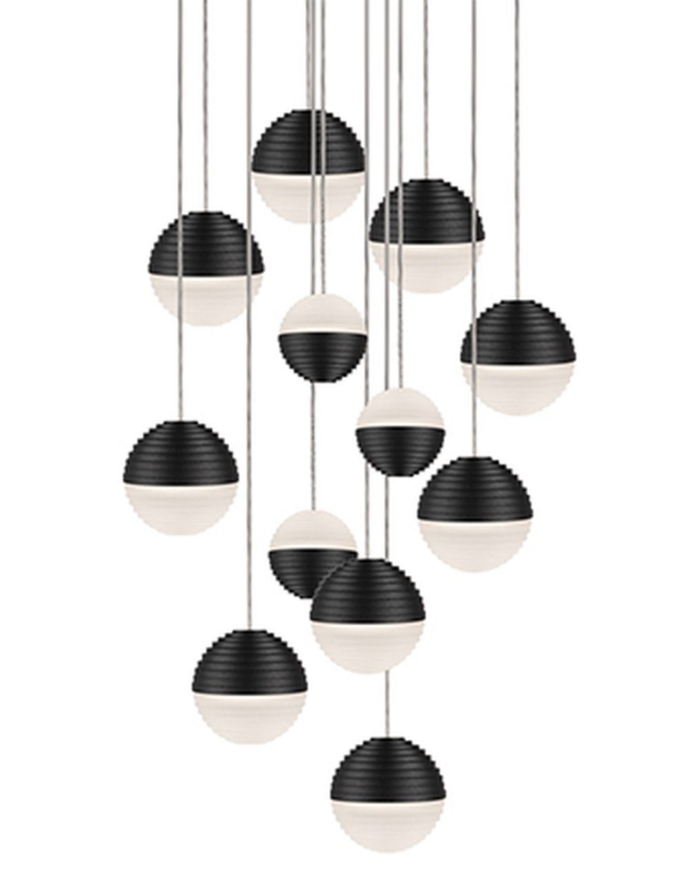 Divine 12-Light Pendant Shade Color: Black/Cream