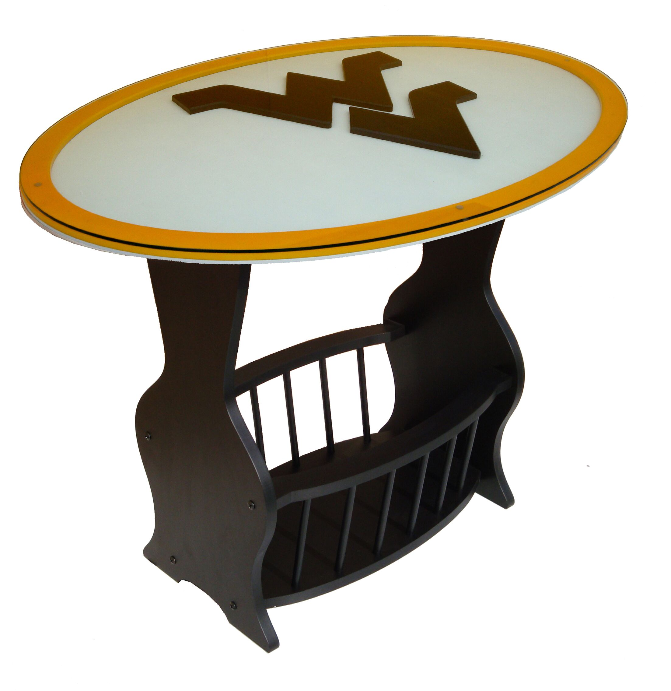 NCAA Glass End Table NCAA Team: West Virginia