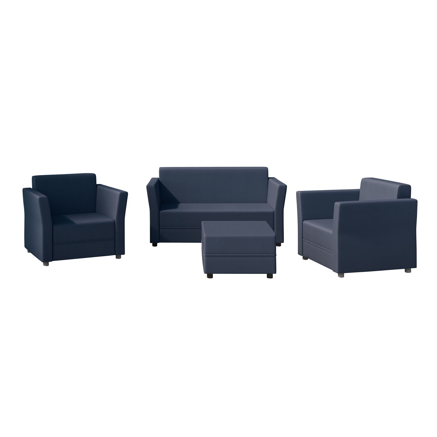 Verona 4 Piece Sofa Set with Cushions Color: Blue