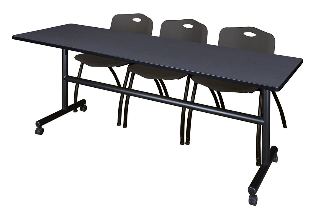 84'' W Marin Training Table with Chairs Tabletop Finish: Gray/Black