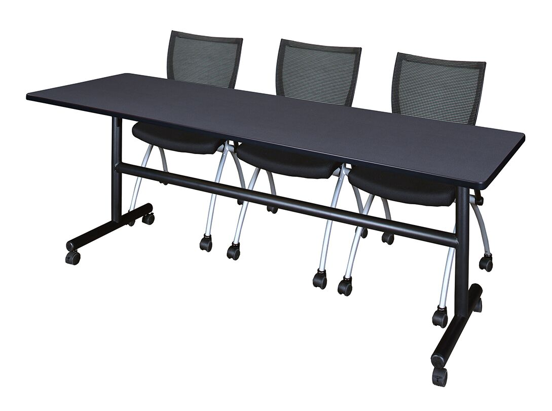 84'' W Marin Training Table with Chairs Tabletop Finish: Gray
