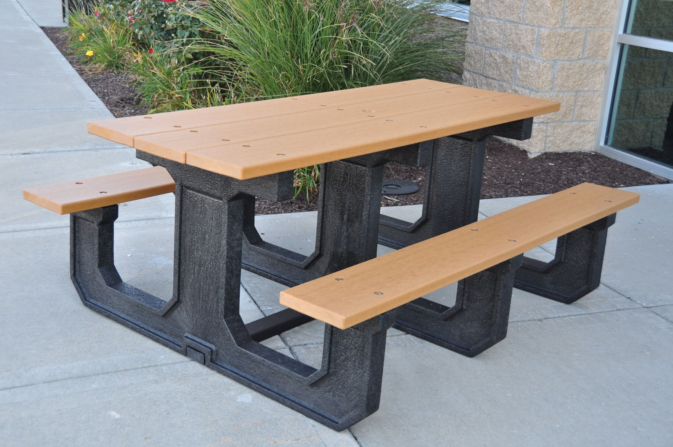 Park Place Recycled Plastic Picnic Table Color: Cedar, Mounting Type: None