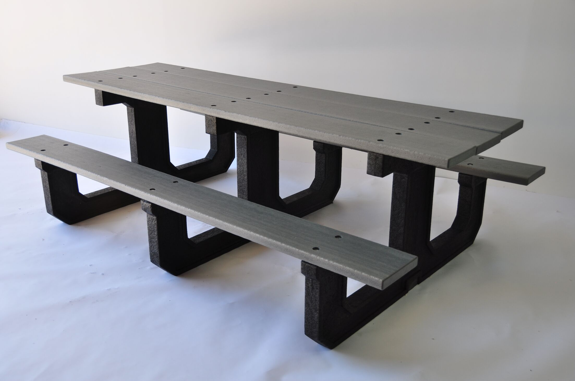 Park Place Recycled Plastic Picnic Table Mounting Type: L-Bracket, Color: Gray