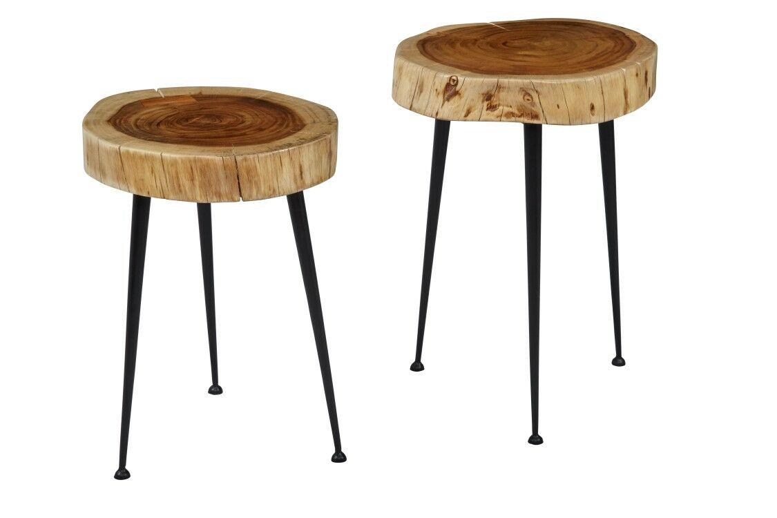 Serafina Global Archive Wood and Iron 2 Piece Nesting Tables