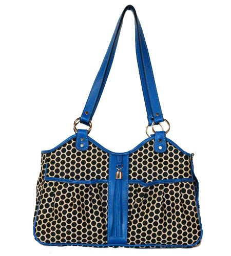 Espresso Dot Metro Pet Carier Color: Cobalt, Size: Small (9