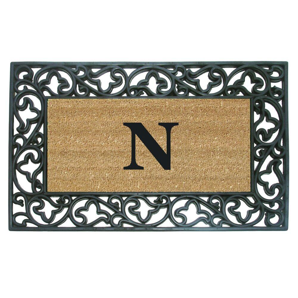 Rubber Coir Acanthus Monogrammed Door Mat Letter: N