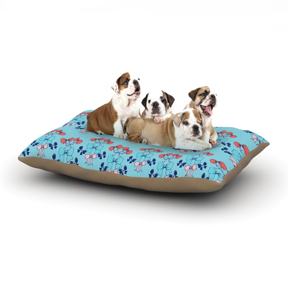 Anneline Sophia 'Bows' Dog Pillow with Fleece Cozy Top Size: Small (40
